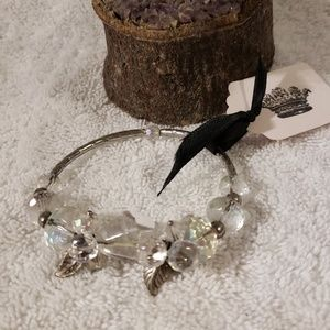 Crystal Bracelet with Silver Charms